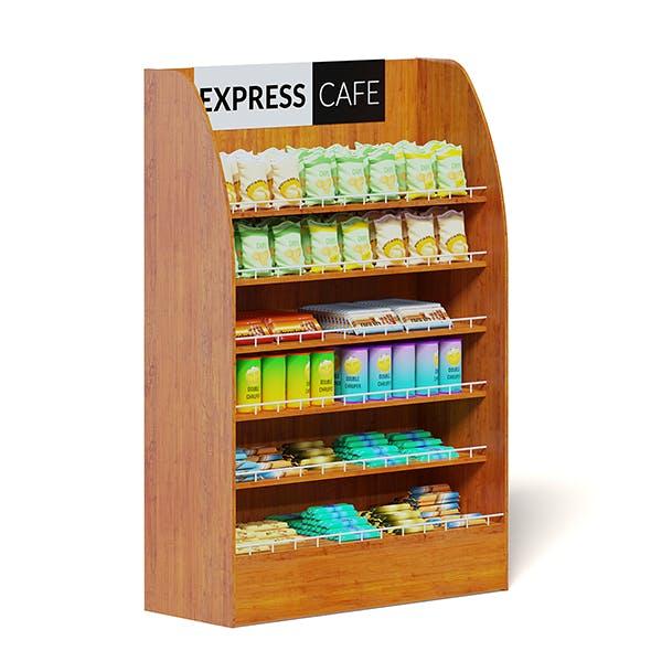 Wooden Market Shelf 3D Model