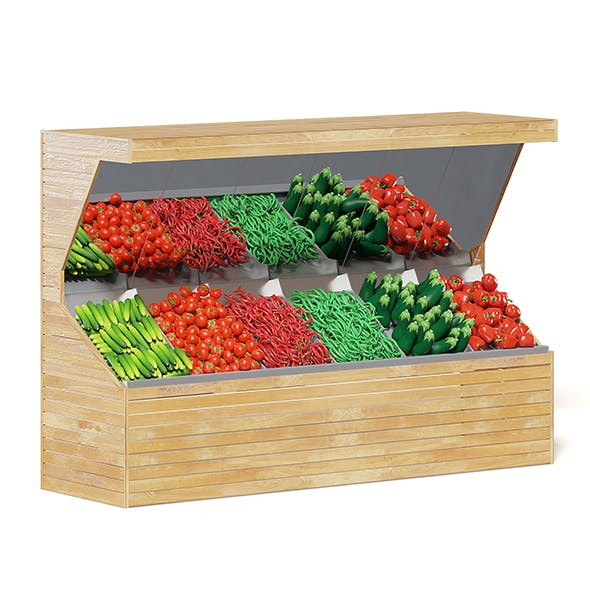 Market Shelf 3D Model - Vegetables - 3DOcean Item for Sale