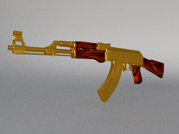 AK-47 (gold) - 3DOcean Item for Sale