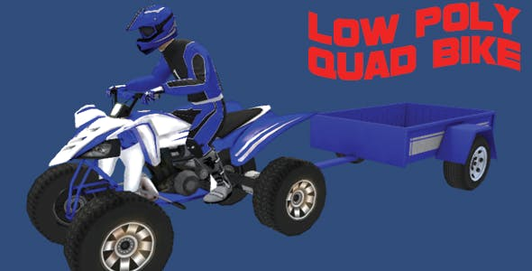 Low Poly Quad Bike With Trailer & Rider - 1 - 3DOcean Item for Sale