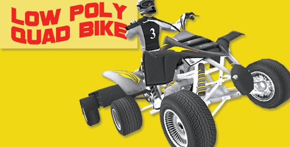 Low Poly Quad Bike With Trailer & Rider - 3 - 3DOcean Item for Sale