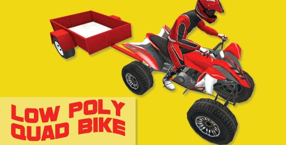 Low Poly Quad Bike With Trailer & Rider - 2 - 3DOcean Item for Sale