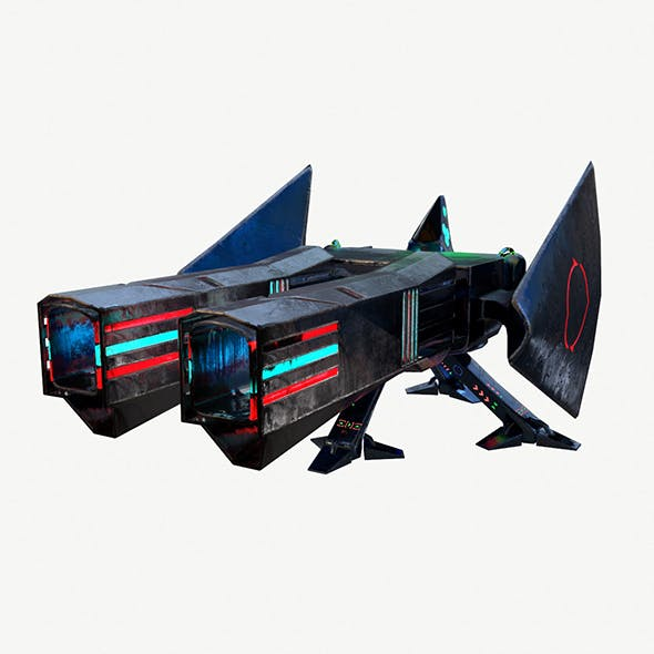 Scifi Big Turret Low Poly PBR Vray - 3DOcean Item for Sale
