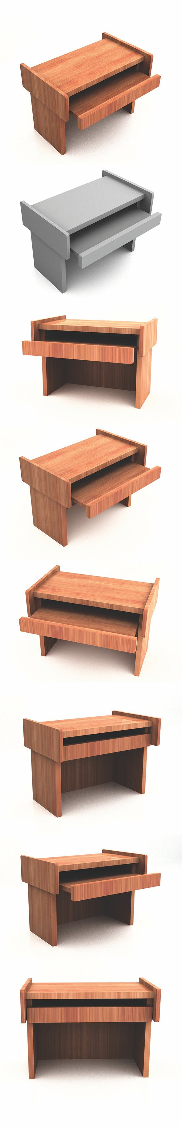 Realistic Computer Wood Table - 3DOcean Item for Sale