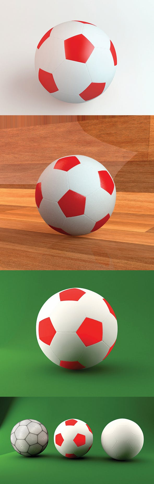 3D Realistic Football - 3DOcean Item for Sale