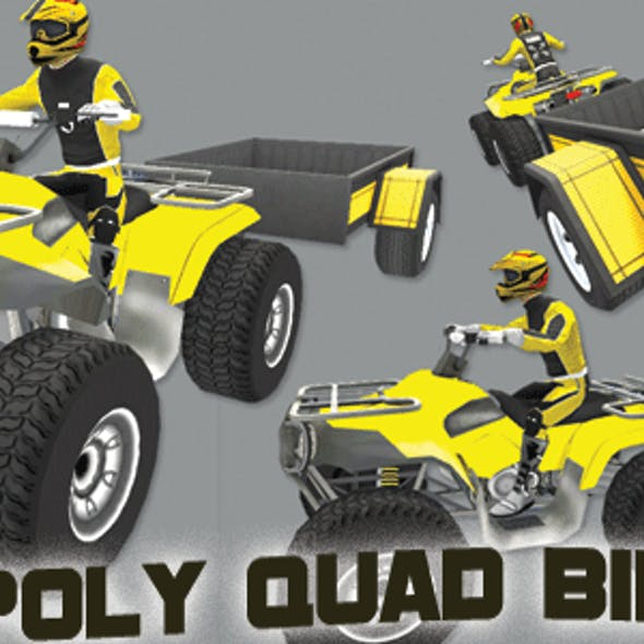Low Poly Quad Bike With Trailer & Rider - 5