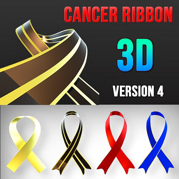 3D Breast Cancer Awareness Ribbbon v4 - 3DOcean Item for Sale