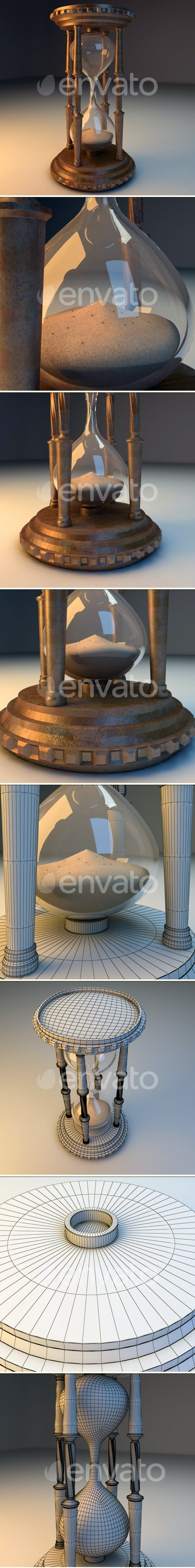 Antique Hourglass - 3DOcean Item for Sale