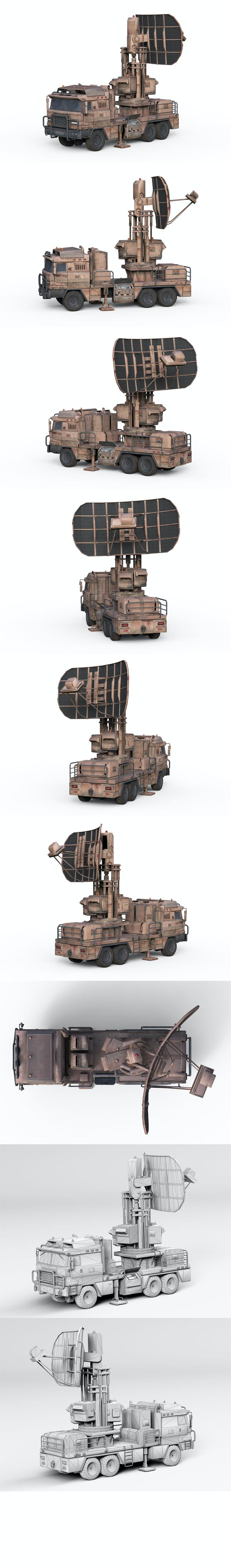 Military vehicle with radar - 3DOcean Item for Sale