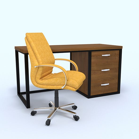 Yellow leather office chair and office desk