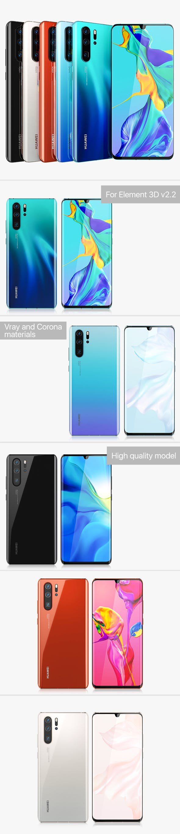 Huawei P30 Pro ALL Colors - 3DOcean Item for Sale