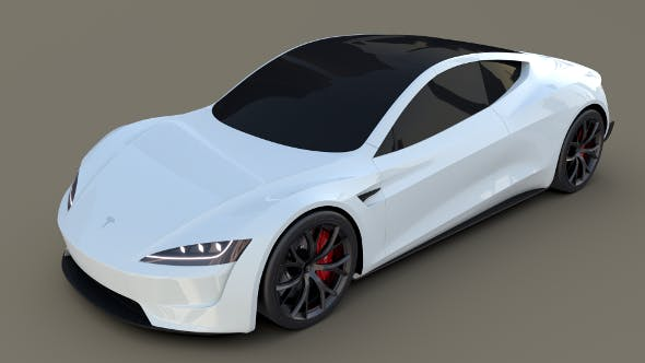 Tesla Roadster White - 3DOcean Item for Sale