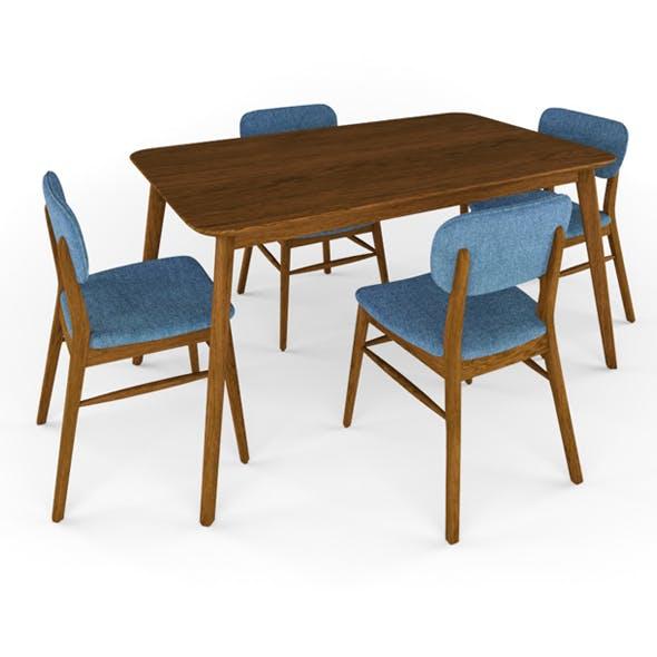 Henry 5 Piece Wood Dining Set - 3DOcean Item for Sale