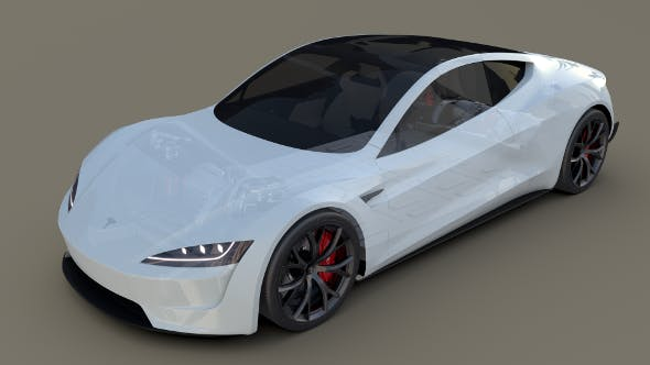 Tesla Roadster 2020 White with interior and chassis - 3DOcean Item for Sale