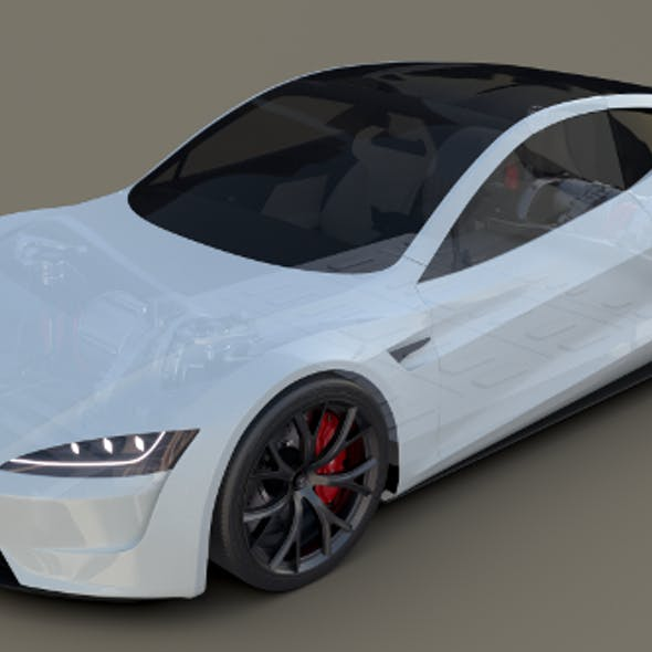 Tesla Roadster 2020 White with interior and chassis