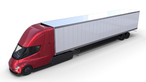 Tesla Semi Truck with Interior and Trailer Red - 3DOcean Item for Sale