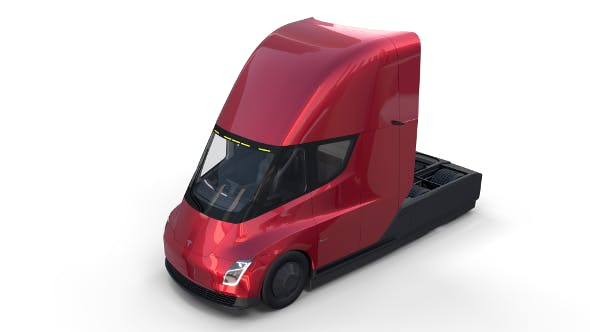 Tesla Semi Truck with Interior Red - 3DOcean Item for Sale
