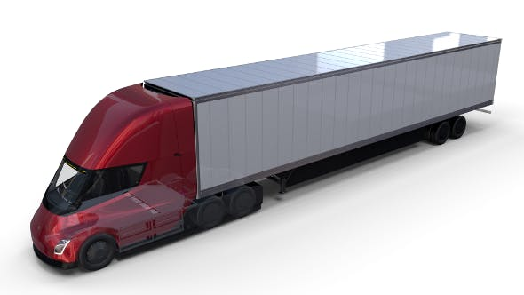 Tesla Truck with Chassis Interior and Trailer Red - 3DOcean Item for Sale