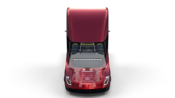 Tesla Truck with Chassis and Interior Red - 3DOcean Item for Sale