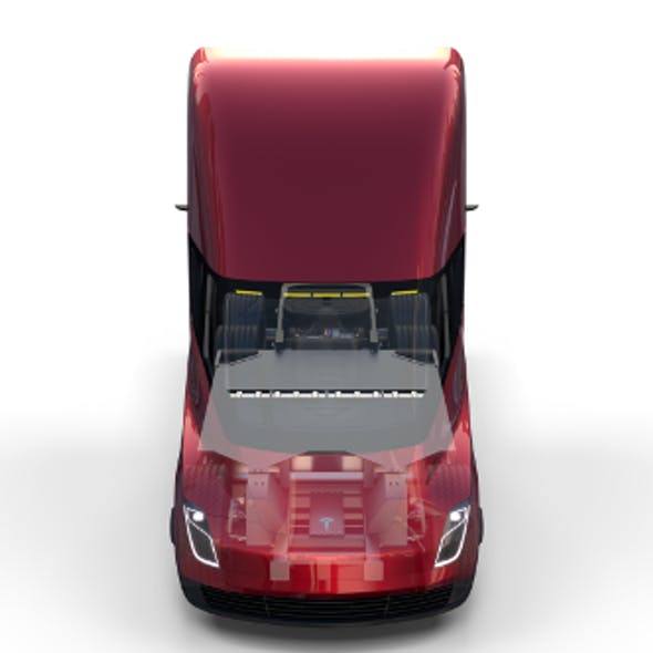 Tesla Truck with Chassis and Interior Red