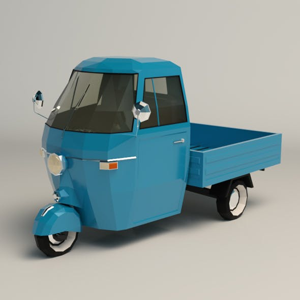Low Poly Three Wheeled Pickup