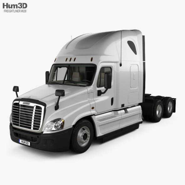 Freightliner Cascadia Sleeper Cab Tractor Truck with HQ interior 2007 - 3DOcean Item for Sale