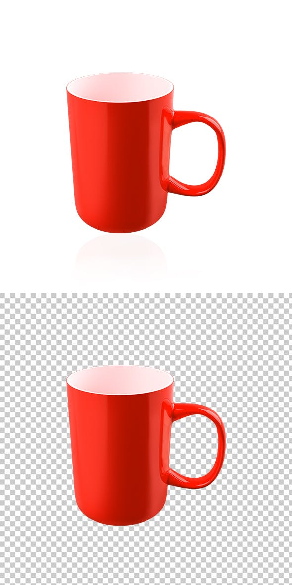 Realistic 3D Red Mug - 3DOcean Item for Sale