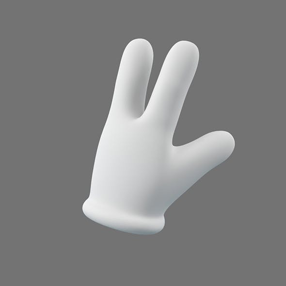 Cartoon Glove Hands Low Poly - 3 fingers