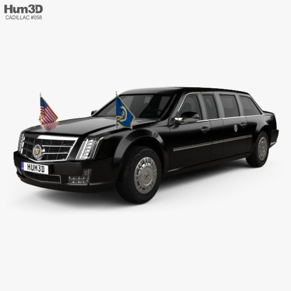 Cadillac US Presidential State Car with HQ interior 2017 - 3DOcean Item for Sale