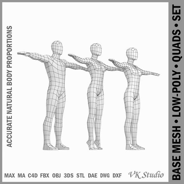 Female and Male Base Mesh Natural Proportions in T-Pose