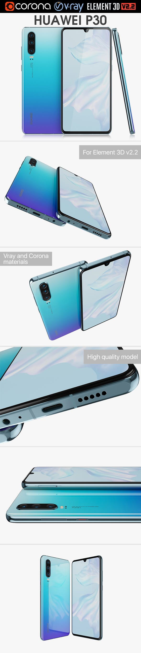 Huawei P30 Breathing Crystal - 3DOcean Item for Sale