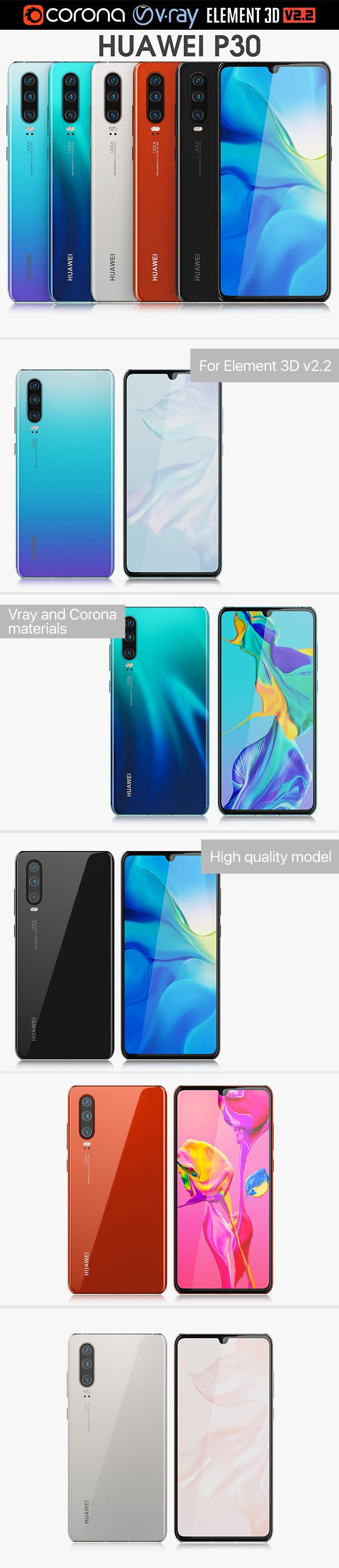 Huawei P30 ALL Colors - 3DOcean Item for Sale