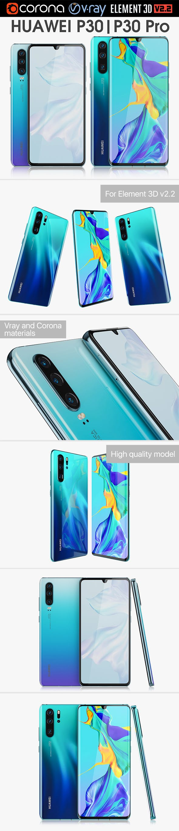 Huawei P30 Pro and Huawei P30 - 3DOcean Item for Sale