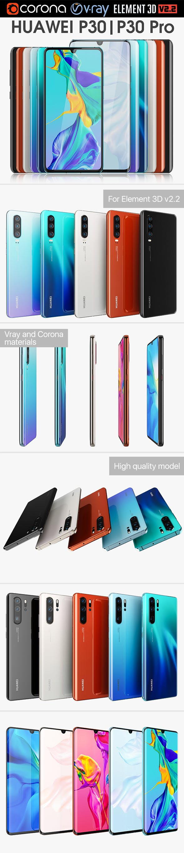 Huawei P30 and P30 Pro Collection - 3DOcean Item for Sale