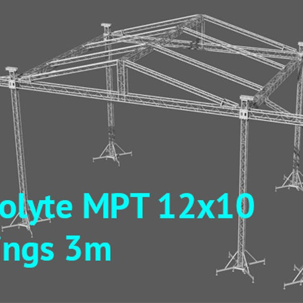 Prolyte MPT 12x10 roof with side wings 3m