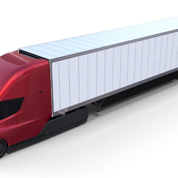 Tesla Truck Red w trailer