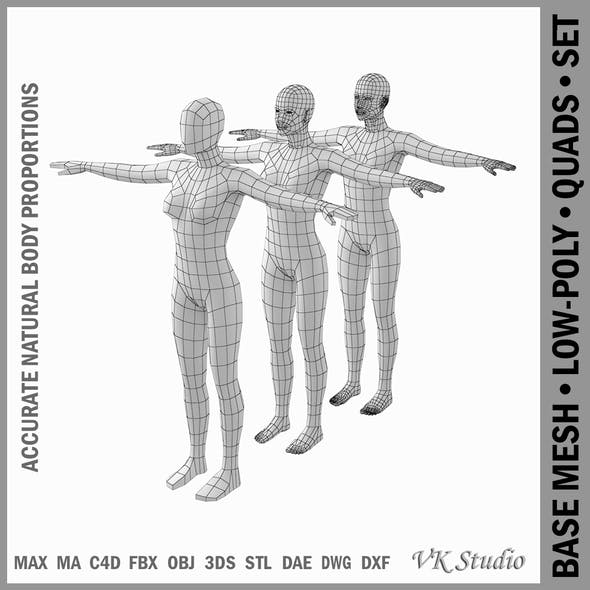 Female Base Mesh Natural Proportions in T-Pose - 3DOcean Item for Sale