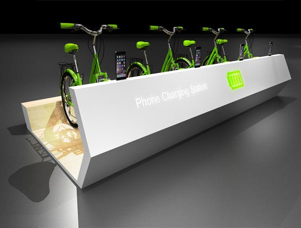 bicycle  chargeing station  (interactive) - 3DOcean Item for Sale