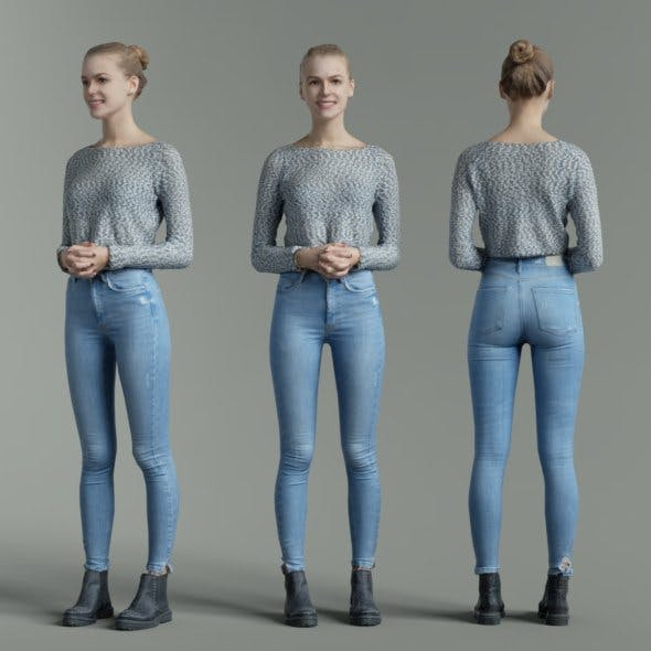 Jeans Girl in Fluffy White Top Folding Hands