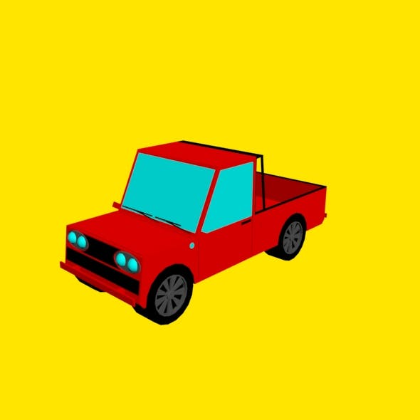 Low poly pickup truck - 3DOcean Item for Sale
