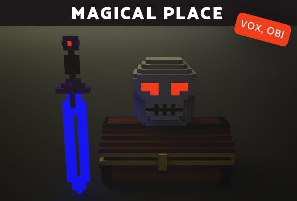 Magical Place  Chest, skull, sword - Voxel Model. - 3DOcean Item for Sale