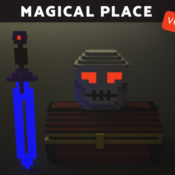Magical Place| Chest, skull, sword - Voxel Model.