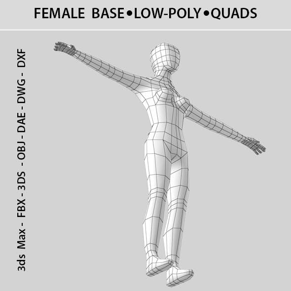 T-pose Low-poly 3D Female base - 3DOcean Item for Sale