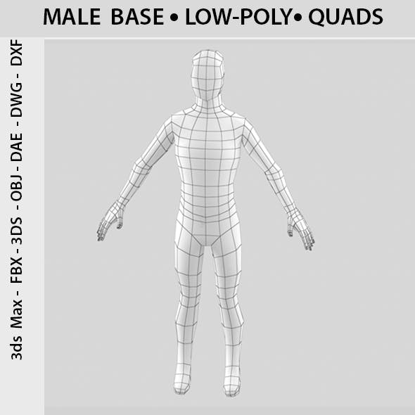 A-pose Low-poly 3D male base - 3DOcean Item for Sale