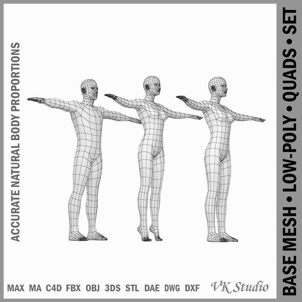 Female and Male Base Mesh Natural Proportions in T-Pose - 3DOcean Item for Sale