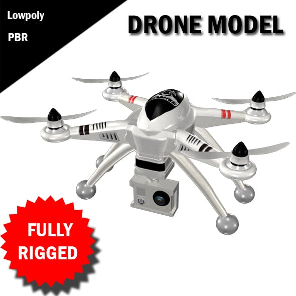 Drone Rigged Model VR / AR / low-poly 3d model