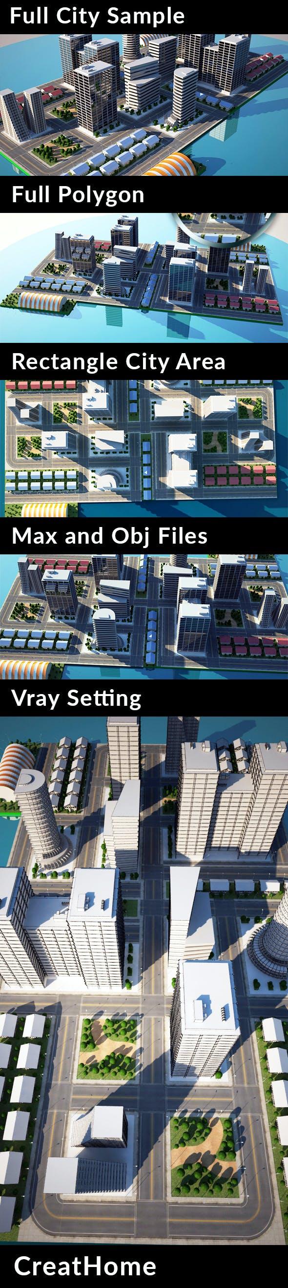 Full City Sample - City Models - 3DOcean Item for Sale