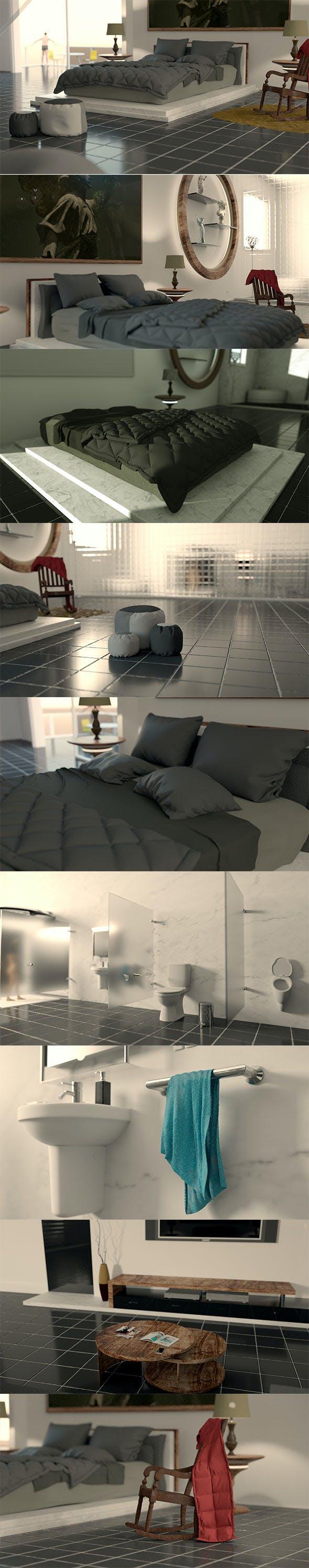 Hotel Bedroom - Cinema 4D - Octane 3.07-R2 - 3DOcean Item for Sale
