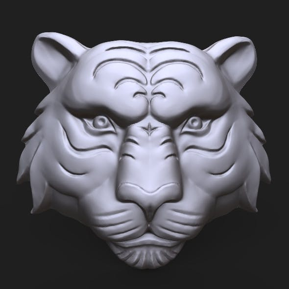 Tiger Face bas relief - 3DOcean Item for Sale