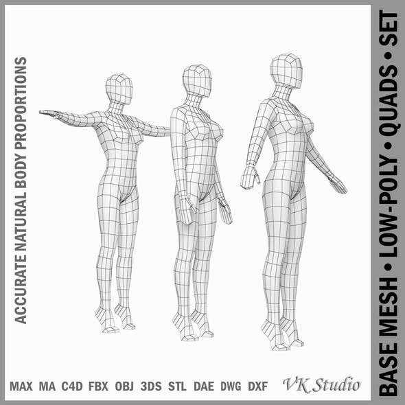 Female Base Mesh In 3 Modeling Poses
